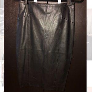 Zara black leather pencil skirt
